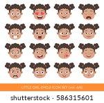 set of kid facial emotions.... | Shutterstock .eps vector #586315601