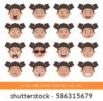 set of kid facial emotions.... | Shutterstock .eps vector #586315679