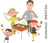 illustration of family enjoying ... | Shutterstock .eps vector #586317161