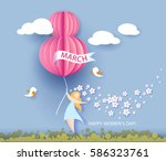 card for 8 march women's day.... | Shutterstock .eps vector #586323761