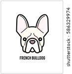 white french bulldog face... | Shutterstock .eps vector #586329974