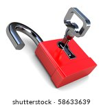 3d illustration of opened lock... | Shutterstock . vector #58633639