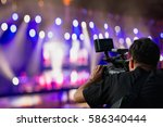 covering an event on stage with ... | Shutterstock . vector #586340444
