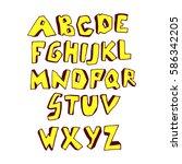 doodle font. vector alphabet   Shutterstock .eps vector #586342205