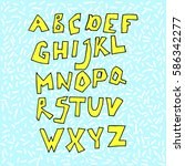 doodle font. vector alphabet | Shutterstock .eps vector #586342277
