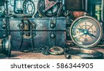 antique compass and treasure... | Shutterstock . vector #586344905