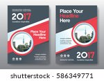 red color scheme with city... | Shutterstock .eps vector #586349771