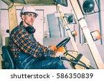 caucasian forklift operator...   Shutterstock . vector #586350839