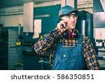 caucasian factory worker making ...   Shutterstock . vector #586350851