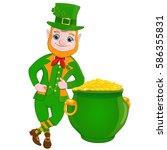 leprechaun standing near a pot... | Shutterstock .eps vector #586355831
