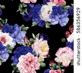 seamless floral pattern with... | Shutterstock . vector #586356929