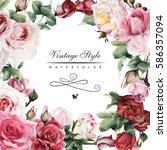 greeting card with roses ... | Shutterstock . vector #586357094