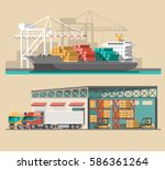 delivery service concept.... | Shutterstock .eps vector #586361264