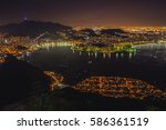 night cityscape view from the... | Shutterstock . vector #586361519