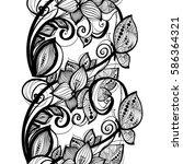 seamless pattern black lace... | Shutterstock .eps vector #586364321