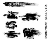 vector set of grunge brush... | Shutterstock .eps vector #586372115