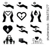 donate set symbol in black and... | Shutterstock .eps vector #586373177