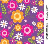 seamless background with floral ... | Shutterstock .eps vector #586376894