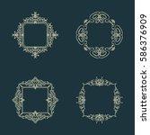 huge rosette wicker border... | Shutterstock .eps vector #586376909