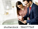 young business couple with... | Shutterstock . vector #586377569