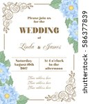 wedding invitation with flowers ... | Shutterstock .eps vector #586377839