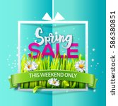 spring sale card with grass and ... | Shutterstock .eps vector #586380851