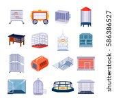 set of sixteen isolated empty... | Shutterstock .eps vector #586386527