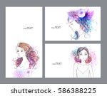 set of beautiful women with... | Shutterstock .eps vector #586388225