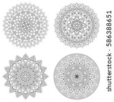 set of floral mandalas  vector... | Shutterstock .eps vector #586388651