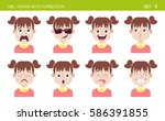 set of kid facial emotions.... | Shutterstock .eps vector #586391855