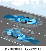 automobile sensors use in self... | Shutterstock .eps vector #586399454