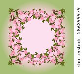 frame for a photo of the peach... | Shutterstock .eps vector #586399979