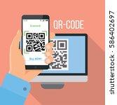 mobile app for scanning qr code. | Shutterstock .eps vector #586402697