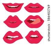 set of female lips on a white...   Shutterstock .eps vector #586402769