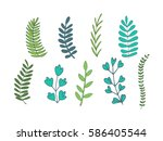 leaf collection | Shutterstock .eps vector #586405544