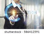 business women touching the...   Shutterstock . vector #586412591