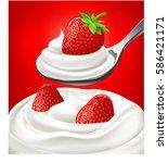 yogurt cream with fresh...   Shutterstock .eps vector #586421171