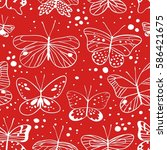 seamless pattern with red... | Shutterstock .eps vector #586421675
