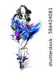 woman fashion model  hand drawn ... | Shutterstock .eps vector #586424081