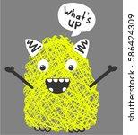 Stock vector cute monster vector character design 586424309