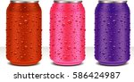 aluminum cans in pink  violet ... | Shutterstock .eps vector #586424987