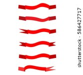 flat red ribbon set. | Shutterstock .eps vector #586427717