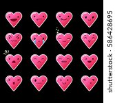 heart pink emoticons with... | Shutterstock .eps vector #586428695