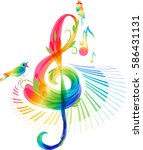 art treble clef and keyboard... | Shutterstock .eps vector #586431131