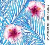 seamless tropical pattern.... | Shutterstock .eps vector #586436819