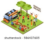 isometric bbq party at nature... | Shutterstock .eps vector #586437605