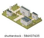 isometric university concept... | Shutterstock .eps vector #586437635