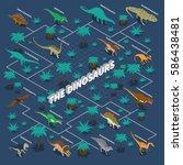 dinosaurs isometric... | Shutterstock .eps vector #586438481