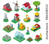 farm isometric icons set with... | Shutterstock .eps vector #586438514