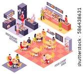 fastfood restaurant interior... | Shutterstock .eps vector #586438631